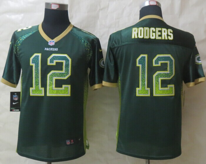 Youth Green Bay Packers 12 Rodgers Drift Fashion Green 2014 New Nike Elite Jerseys