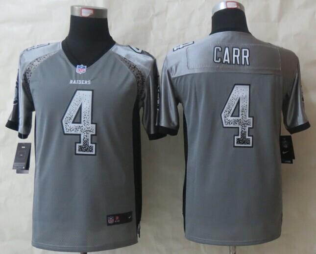 Youth Okaland Raiders 4 Carr Drift Fashion Grey 2014 New Nike Elite Jerseys