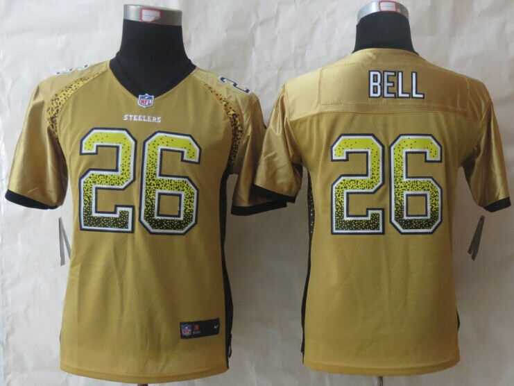 Youth Pittsburgh Steelers 26 Bell Drift Fashion Gold 2014 New Nike Elite Jerseys