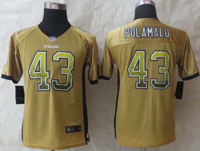 Youth Pittsburgh Steelers 43 Polamalu Drift Fashion Gold 2014 New Nike Elite Jerseys