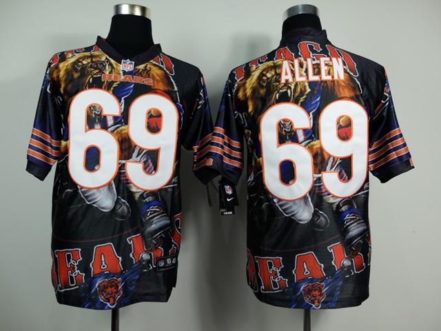 Chicago Bears 69 Jared Allen Black NFL Nike fanatical version Jersey