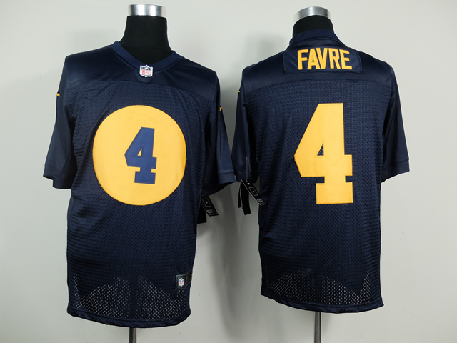 Green Bay Packers 4 Brett Favre Blue 2014 New Nike Elite Jerseys