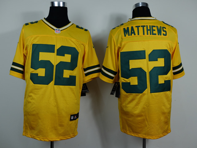 Green Bay Packers 52 Clay Matthews yellow 2014 New Nike Elite Jerseys