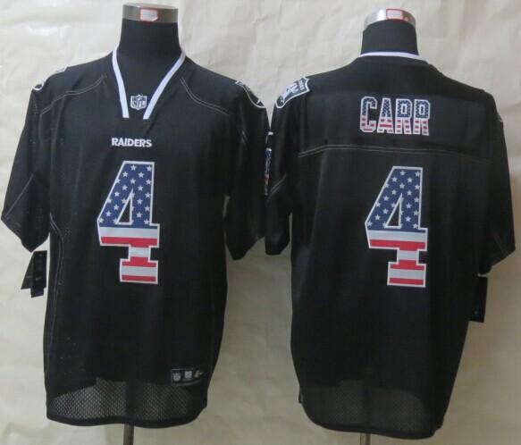 Oakland Raiders 4 Carr USA Flag Fashion Black 2014 New Nike Elite Jerseys