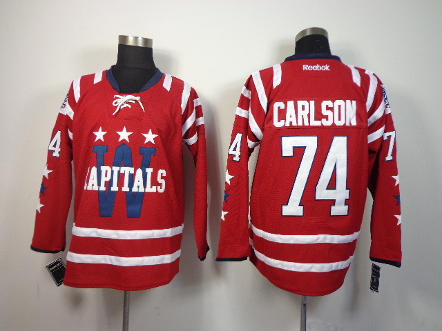 NHL Washington Capitals 74 Carlson red 2014 Jerseys