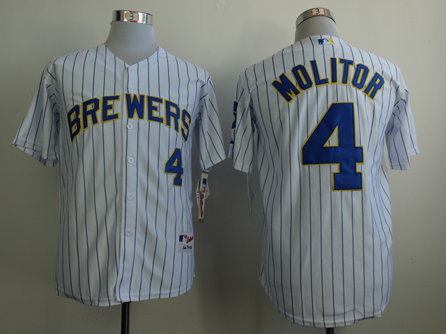 MLB Milwaukee Brewers 4 Paul Molitor White 2014 Jerseys