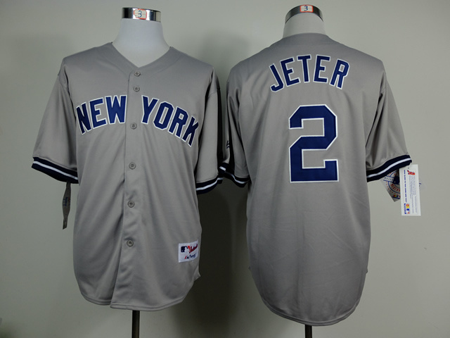 MLB New York Yankees 2 Derek Jeter Grey 2014 Jerseys