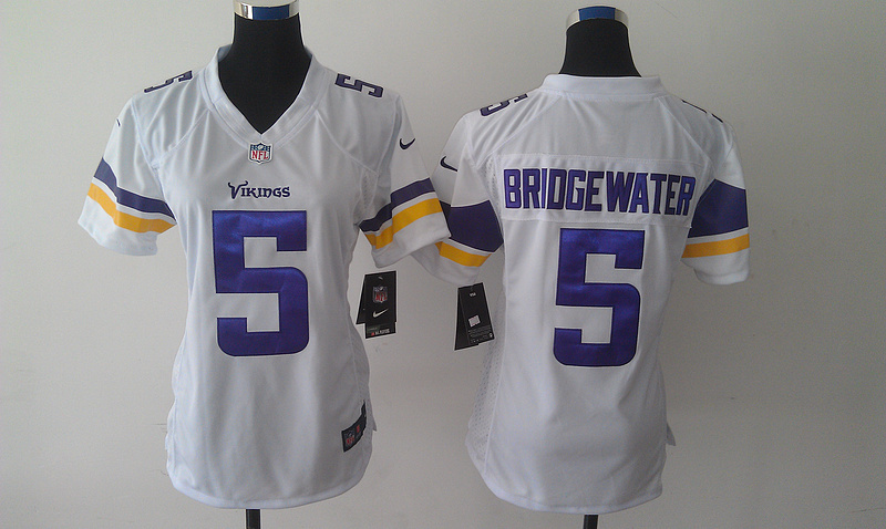 Womens Minnesota Vikings 5 Teddy Bridgewater White Nike 2014 Jerseys