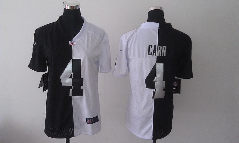 Womens Oakland Raiders 4 Derek Carr black white 2014 Nike Splite Jerseys