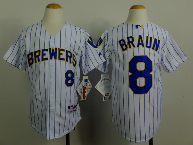 Youth MLB Milwaukee Brewers 8 Ryan Braun white 2014 Jerseys
