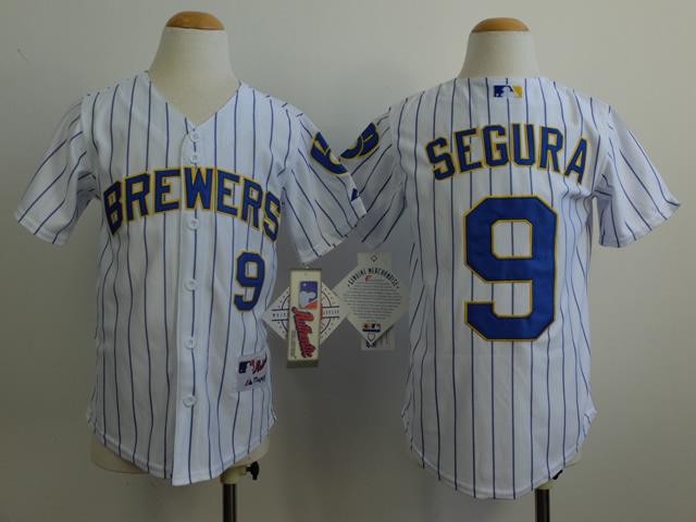 Youth MLB Milwaukee Brewers 9 Segura White 2014 Jerseys