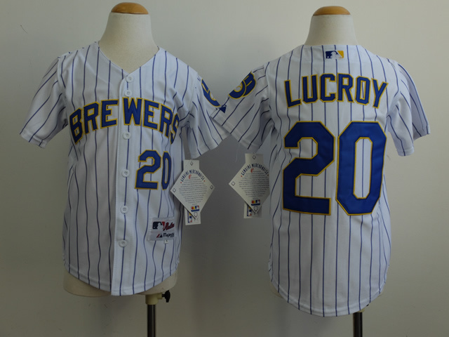 Youth MLB Milwaukee Brewers 20 Jonathan Lucroy White 2014 Jerseys