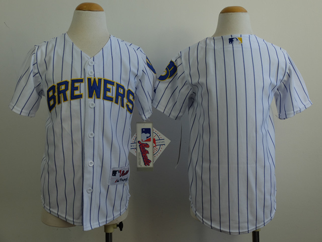 Youth MLB Milwaukee Brewers Blank White 2014 Jerseys
