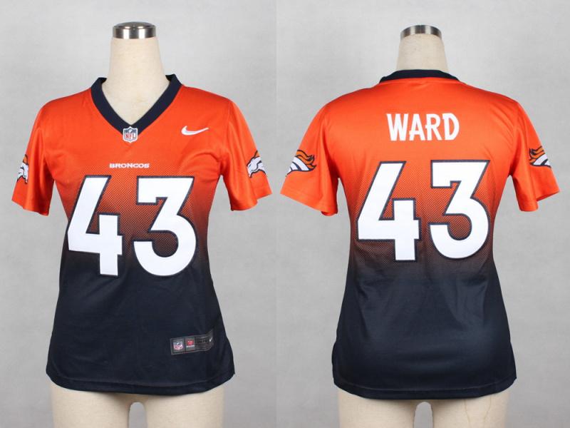 Womens Denver Broncos 43 T.J. Ward Orange blue 2014 Nlike Drift Fashion II Elite Jerseys