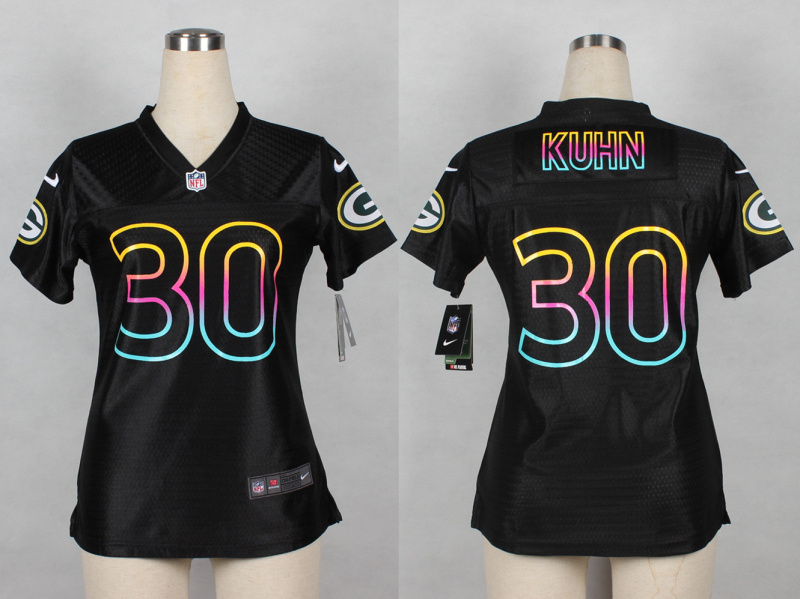 Womens Green Bay Packers 30 John Kuhn 2014 Black Fashion Nike Jerseys
