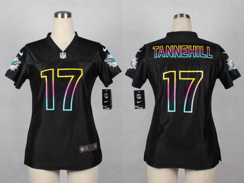 Womens Miami Dolphins 17 Tannehill 2014 Black Fashion Nike Jerseys