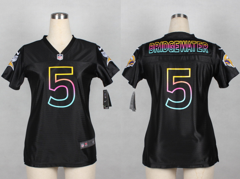 Womens Minnesota Vikings 5 Teddy Bridgewater 2014 Black Fashion Nike Jerseys