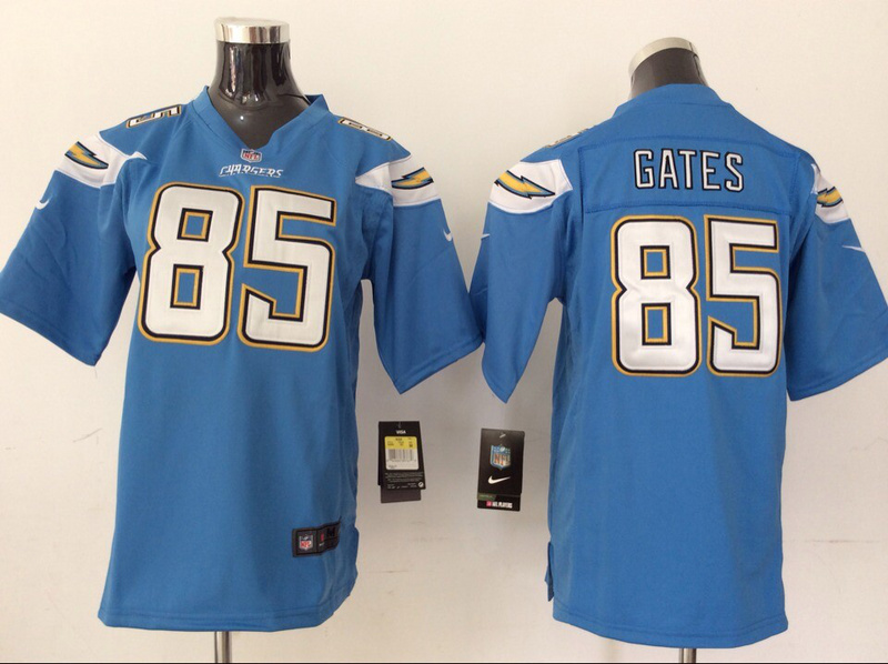 Youth Los Angeles Chargers 85 Antonio Gates Light Blue 2014 New Nike Jerseys