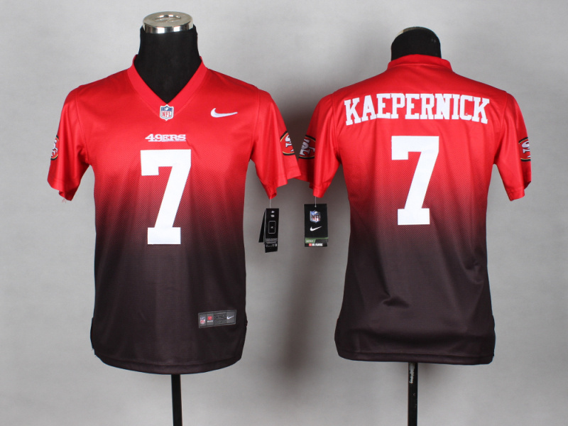 Youth San Francisco 49ers 7 Colin Kaepernick red brown 2014 Nlike Drift Fashion II Elite Jerseys