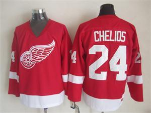 NHL Detroit Red Wings 24 Chelios red Throwback Jersey