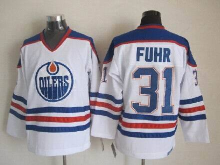 NHL Edmonton Oilers 31 Fuhr white Throwback Jersey