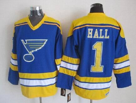 NHL St. Louis Blues 1 Hall Blue Throwback Jersey