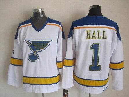 NHL St. Louis Blues 1 Hall White Throwback Jersey