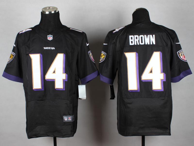 Baltimore Ravens 14 Brown Black 2014 New Nike Elite Jerseys