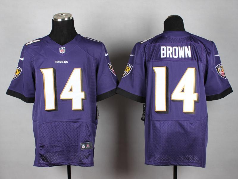 Baltimore Ravens 14 Brown purple 2014 New Nike Elite Jerseys