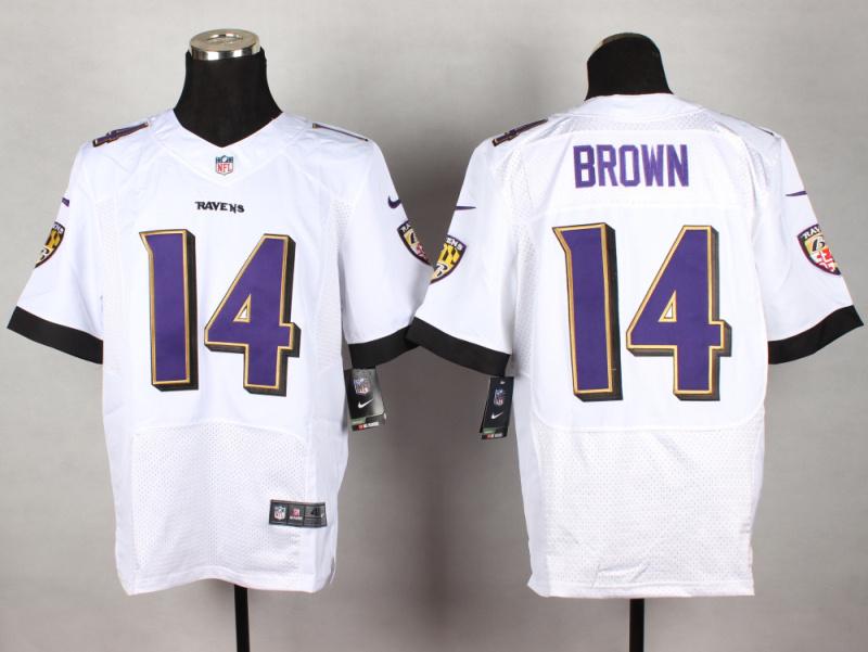 Baltimore Ravens 14 Brown White 2014 New Nike Elite Jerseys