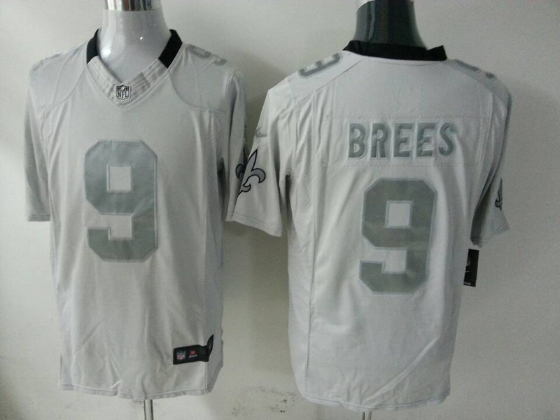 New Orleans Saints 9 Drew Brees Grey 2014 New Nike Game Jerseys