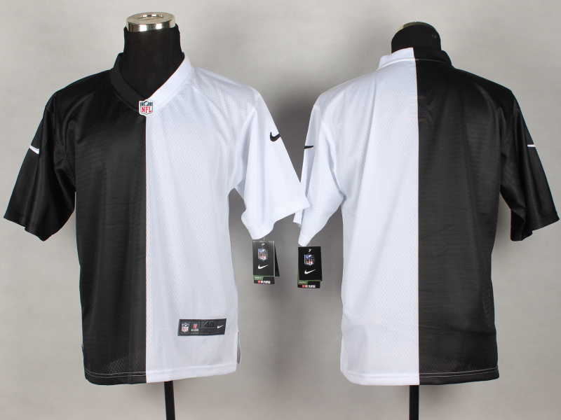 Oakland Raiders Blank Black White 2014 Nike Elite Split Jerseys