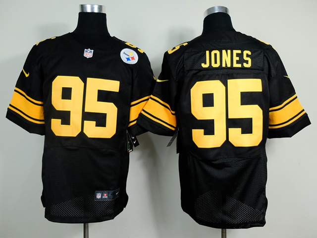 Pittsburgh Steelers 95 Jones Black yellow 2014 New Nike Elite Jerseys