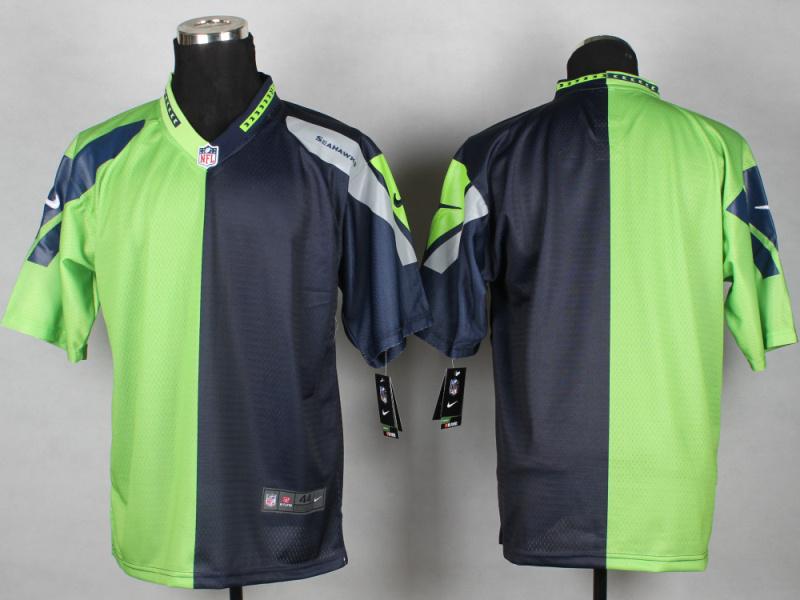 Seattle Seahawks Blank Green Blue 2014 Nike Elite Split Jerseys