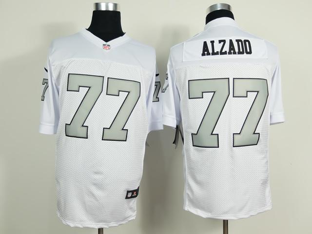 Oakland Raiders 77 Alzado White Silver 2014 New Nike Elite Jerseys
