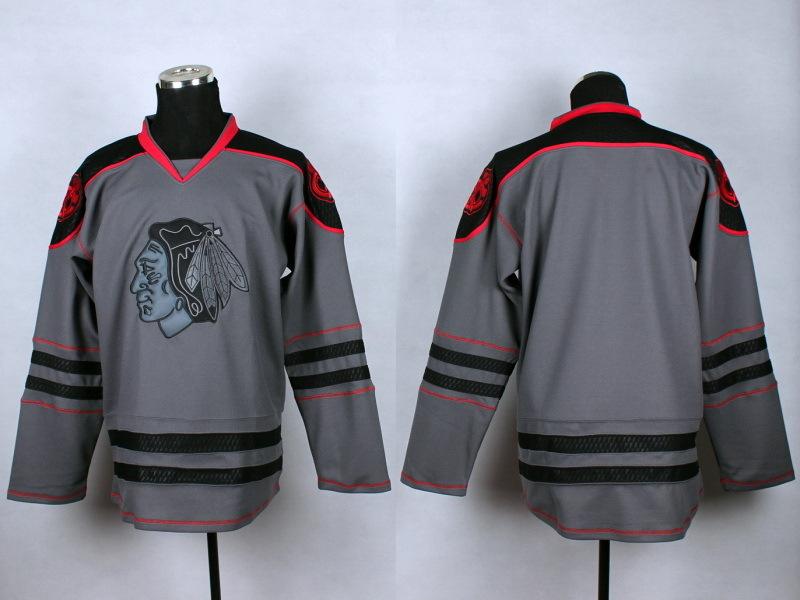 NHL Chicago Blackhawks Blank Charcoal Fashion 2014 Jersey