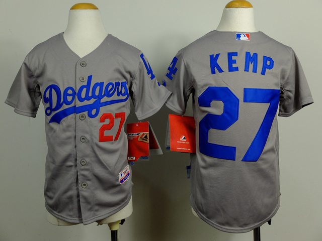 Youth MLB Los Angeles Dodgers 27 Matt Kemp Gray 2014 Jerseys