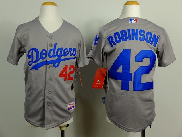Youth MLB Los Angeles Dodgers 42 Jackie Robinson Gray 2014 Jerseys