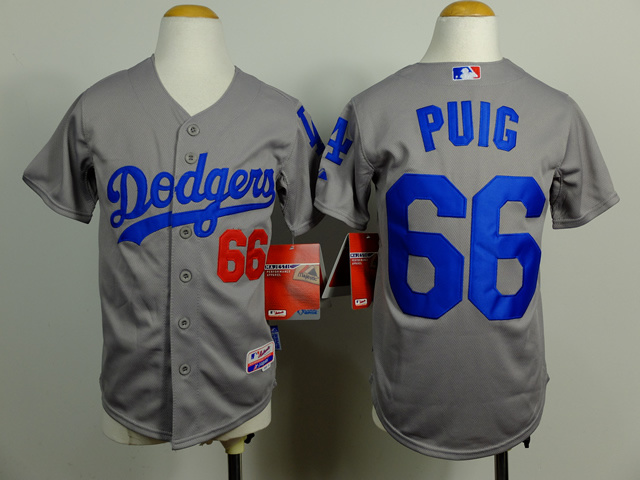 Youth MLB Los Angeles Dodgers 66 Yasiel Puig Gray 2014 Jerseys