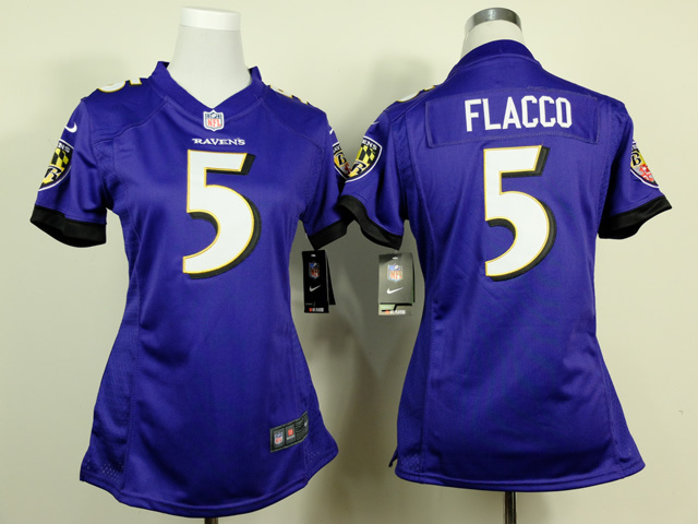 Womens Baltimore Ravens 5 Joe Flacco Purple 2014 New Nike Jerseys