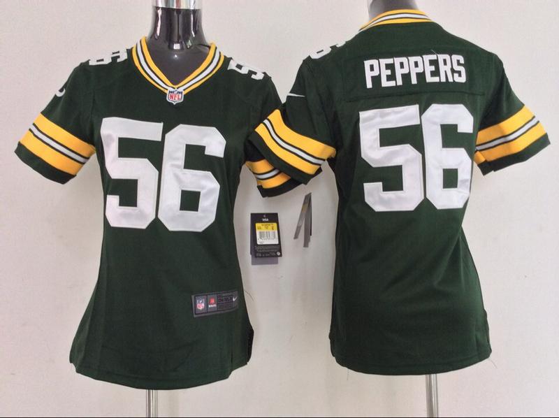 Womens Green Bay Packers 56 Julius Peppers Green 2014 New Nike Jerseys