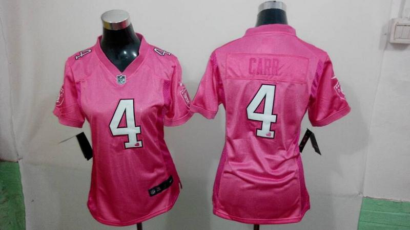 Womens Oakland Raiders 4 Derek Carr Pink Love 2014 New Nike Jerseys