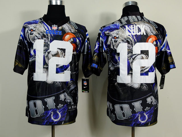 Indianapolis Colts 12 Andrew Luck Black NFL Nike fanatical version Jersey