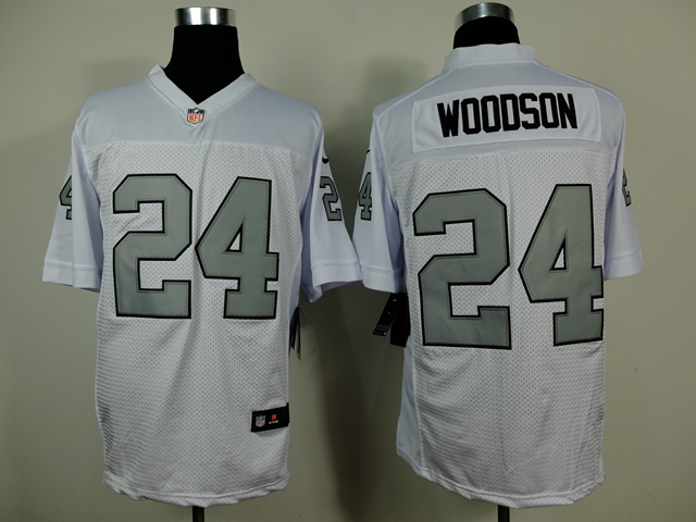 Oakland Raiders 24 Charles Woodson White Silver 2014 New Nike Elite Jerseys