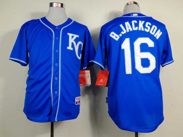MLB Kansas City Royals 16 Bo Jackson Blue Throwback 2014 Jerseys