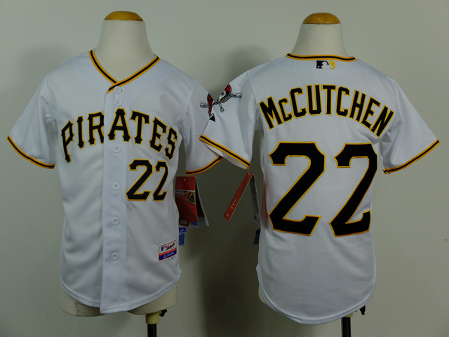 Youth MLB Pittsburgh Pirates 22 Andrew McCutchen White 2014 jerseys