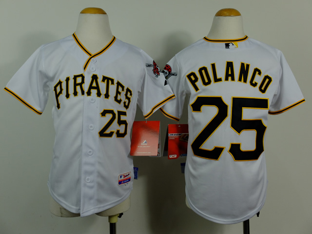 Youth MLB Pittsburgh Pirates 25 Gregory Polanco White 2014 jerseys