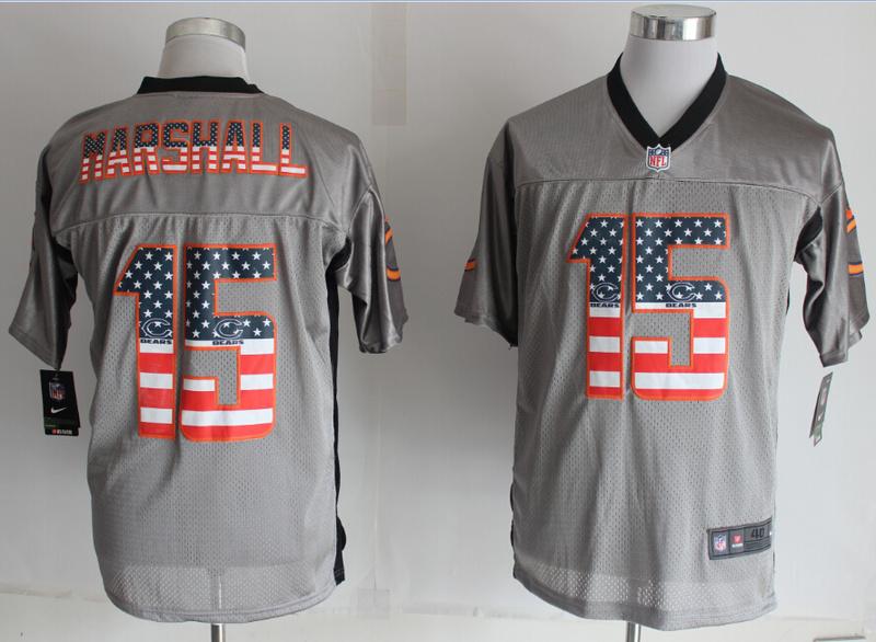 Chicago Bears 15 Marshall USA Flag Fashion Grey Shadow 2014 New Nike Elite Jerseys