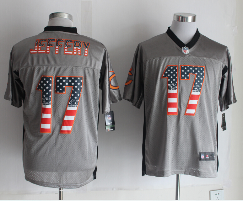 Chicago Bears 17 Jeffery USA Flag Fashion Grey Shadow 2014 New Nike Elite Jerseys