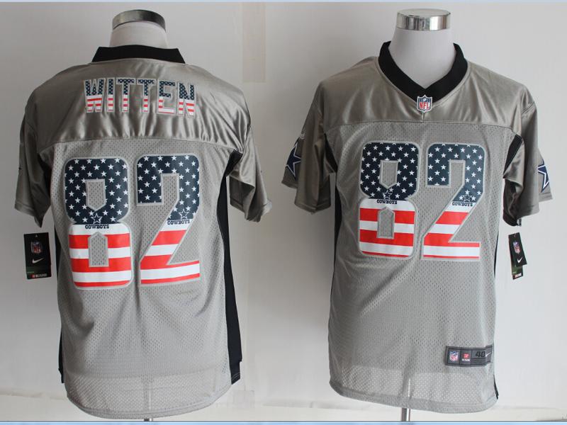 Dallas cowboys 82 Witten USA Flag Fashion Grey Shadow 2014 New Nike Elite Jerseys